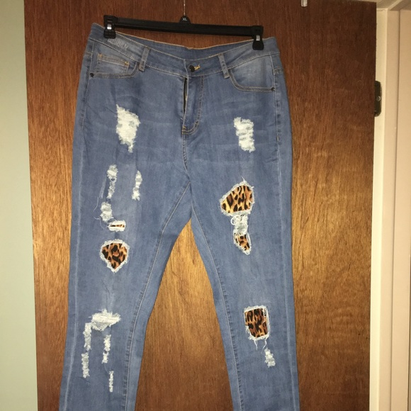 Jeans Distressed With Leopard Patches Poshmark